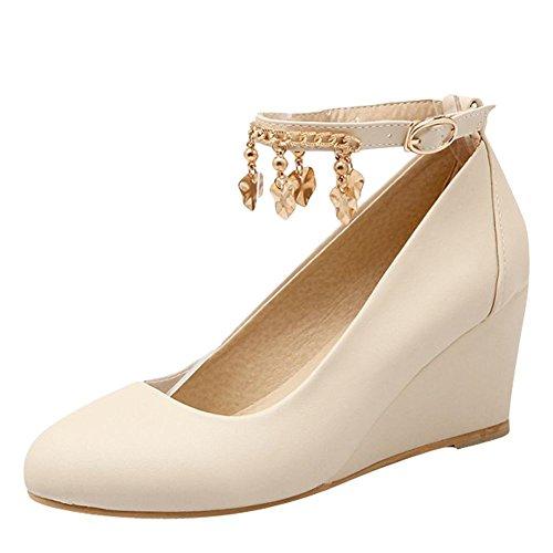 Carolbar Women's Charm Sweet Wedge High Heel Buckle Court Shoes Beige