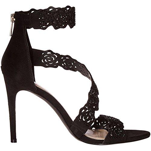 ENMAYER Damen Gürtelschnalle Strap High Heels Peep Toe Solid Party Kleid Schuhe für Frauen Stiletto Sommer Schuhe Plattform Sandalen Schwarz