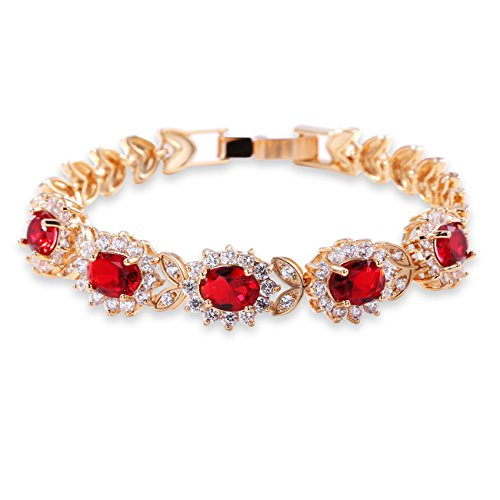 (GULICX Flower Red Cubic Zirconia Crystal Gold Plated Red Bridal Bracelet for Women)
