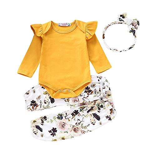 (3Pcs Newborn Toddler Baby Girl Romper Jumpsuit Ruffle Long Sleeve Bodysuit Floral Pants Outfits with Headband Sets (Yellow, 6-9 Months))