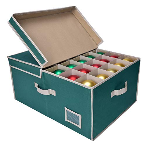 StorageWorks Ornament Storage Box Chest with Lid, with 3 Trays Holds Up to 90 Ornaments Balls, Stacking Storage Bins with Side Flip-Up Lid, 65L, Green