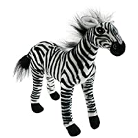 Houwsbaby Lifelike Zebra Realistic Horse with Stripes Wildlife Stuffed Animal Soft Plush Toy Kids Gift Collection, 12