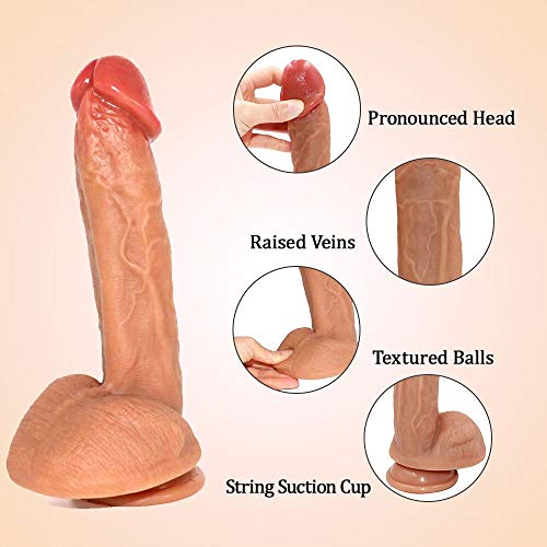 Realistic Dildo Soft Bendable Dildo with Suction Cup Curved Shaft and Balls for Vaginal G-Spot Anal Play, Treediride 8.46 Inch Dual Liquid Silicone Cock Penis Dong Adult Sex Toys for Masturbation