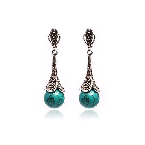 - GEM-inside 12mm Round Old Turquoise Beads Tibetan Silver Marcasite Earrings Jewelry
