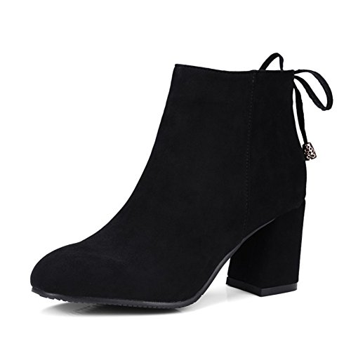 fereshte Ladies Women's Fashion Suede Pointed-Toe Mid Heels Casual Back Lace Ankle Boots Black (Fleece Lined) aZToOA