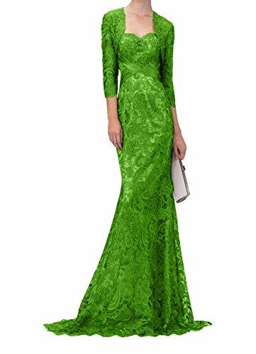 mit Partykleider Jaket Jugendweihe Lang Brautmutterkleider Spitze Grün Abendkleider Damen Kleider Charmant Ballkleider gzZqTXw