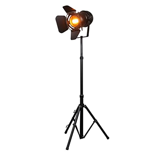 Lámpara de pie Retro Reflector negro Altura ajustable Sombra ...