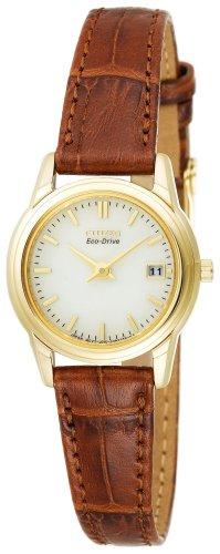 Citizen Women s GA1002-02P Eco-Drive Gold-Tone Leather Strap Dress Watch
