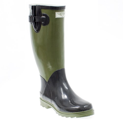 Evigt Unga - Womens Wellie Regn Boot Oliv / Svart