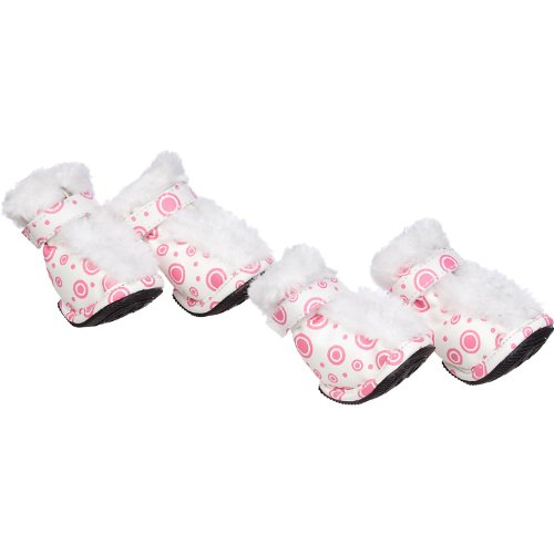 (PET LIFE Insulated Fashion Designer Plush Premium Fur-Comfort PVC Water resistant Supportive Pet Dog Shoes Booties Boots, Large, Pink & White)
