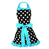 Dovewill Kitchen Apron Maid Women Apron Restaurant Ladies Apron Bowknot 8 Colors - Blue, as described