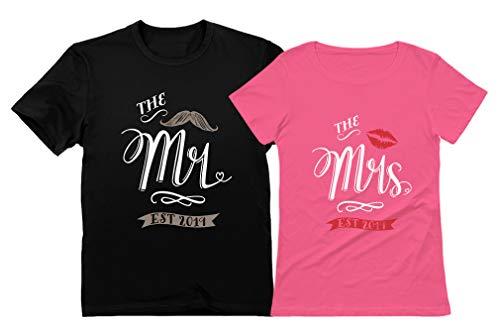 Mr & Mrs Est 2019 Couples Gift Wedding, Anniversary, Newlywed Matching T-Shirts Mr Black X-Large/Mrs Pink Medium
