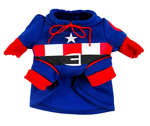 [EXPAWLORER Captain America Dog Christmas Costume, Holiday Clothes Medium] (Pugs Costumes)