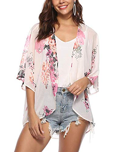 Beach Pink Stitch - Corgy Women Casual Raglan Sleeve Print Loose Open Stitch Beach Bikini Cover-up Cover-Ups Pink