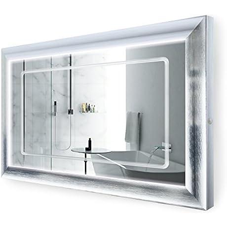 LED Lighted 48 Inch X 30 Inch Bathroom Satin Silver Framed Mirror W Defogger