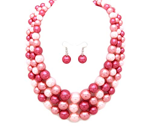 Women's Simulated Faux Three Multi-Strand Pearl Statement Necklace and Earrings Set (Pink Mix Tone)