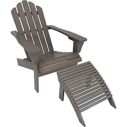 Sunnydaze Wooden Outdoor Adirondack Chair and Ottoman Footrest Set, ()