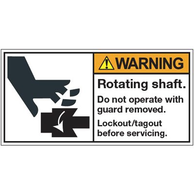 Vinyl ANSI Warning Labels - Warning Rotating Shaft - 2''h x 4''w, White ROTATING SHAFT. DO NOT OPERATE WITH GUARD REMOVED. LOCKOUT/TAGOUT BEFORE - Lb-4W X 2H-Ssk-Rotating Shaft.... - Super-Stik Adhesive