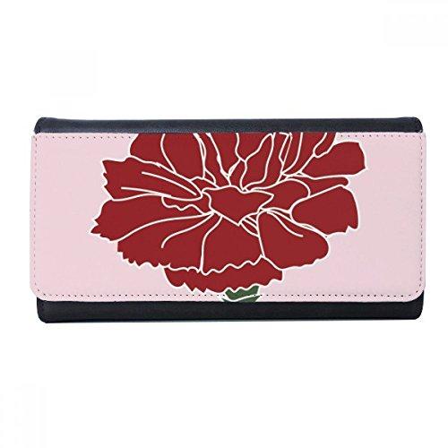 Pink Carnation Mothe Day Flower Plant Wallet Rectangle Card Multi-Function Purse - Carnation Travel Pink Wallets
