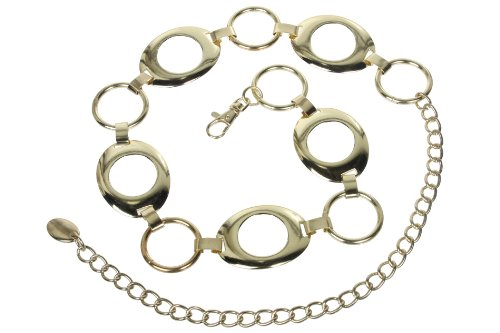 Ladies Metal Oval Circle Chain Belt Size: O/S - 39 End To End Color: Gold