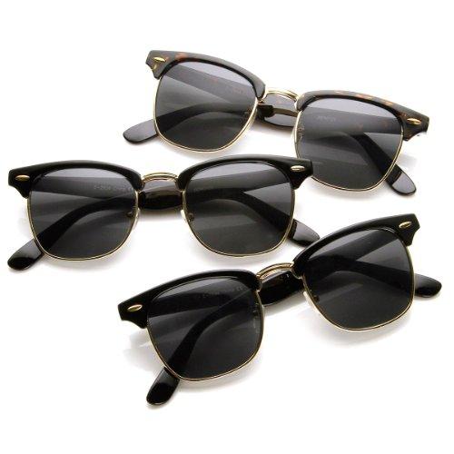 zeroUV - Retro Movie Classic 80s Horn Rimmed Aviator Half Frame Sunglasses (All Clubmasters - 21 Century Sunglasses