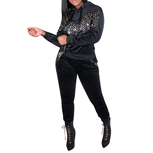Salimdy 2 Piece Outfits for Women Velvet Patchwork Two Piece Sweatsuit Hoodie Pullover and Skinny Long Pants Suit Black Large