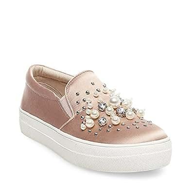 Steve Madden Women's Glamour Fashion Sneaker, Blush Satin, 8.5 M US