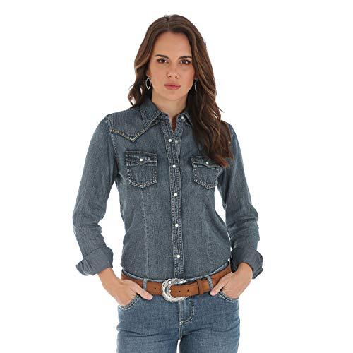 Wrangler Women's Retro Long Sleeve Western Fashion Shirt, Indigo Denim, XXL ()