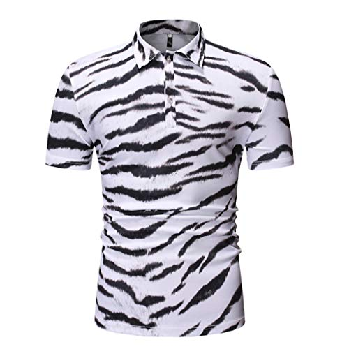 DFHYAR Men's Regular-Fit Short Sleeve Button Down Print Tiger Stripes Cotton Polo Shirt (X-Large,White)