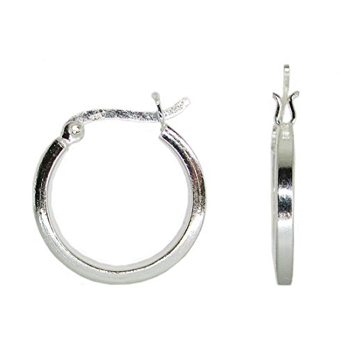 Sterling Silver Round Hoop Earrings w/ Square Tube & Click-Down Clasp, (2mm Tube) (20mm) 2mm Square Tube Hoop Earrings