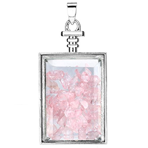 Charisma Rectangle Glass Wishing Bottle Pendant Healing Rose Quartz Gemstone Chip Beads Charm Necklace Sweater Chain - Rectangle Beads Quartz