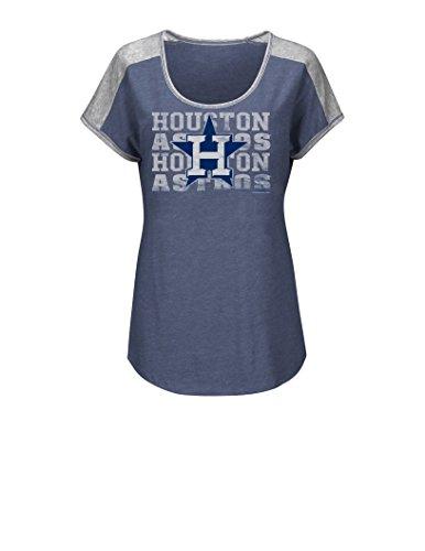 MLB Houston Astros Women's T4C Fashion Tops, Navy Heather/Steel Heather, X-Large (Houston Astros Apparel)