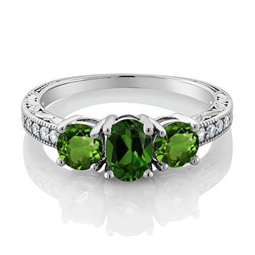 Gem Stone King 1.92 Ct Oval Green Chrome Diopside 925 Sterling Silver Women s 3-Stone Ring Available 5,6,7,8,9