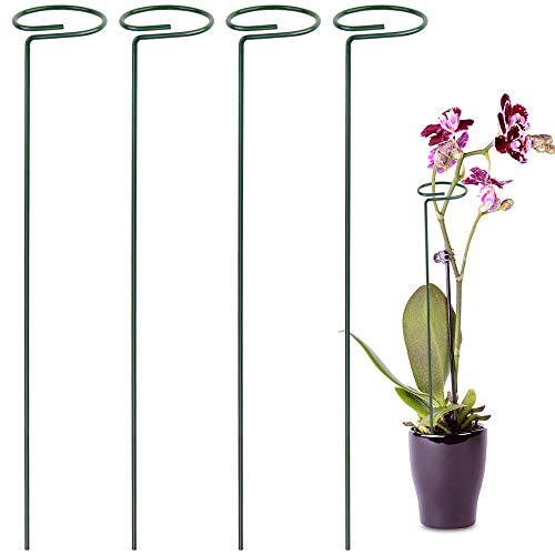 LEOBRO 4 Pack Plant Support Stakes, Garden Flower Support Stake Steel Single Stem Support Stake Plant Cage Support Ring for Flowers, Tomatoes, Peony, Lily, Rose (40 cm/15.8 inch Long)