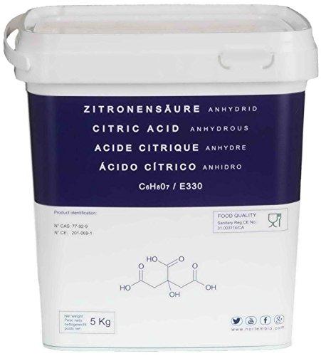 Zitronensäure 5 Kg reine Lebensmittelqualität E330, pulver wasserfrei höchster Qualität, Non-GMO. Entkalker, NortemBio, produkt-CE