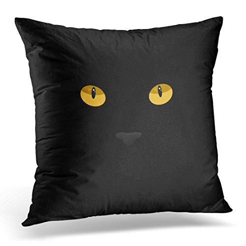 Golee Throw Pillow Cover Animal Orange Halloween Cat Eyes on Black Yellow Abstract Anger Attack Bright Decorative Pillow Case Home Decor Square 18x18 Inches (Halloween Animal Makeup Ideas)