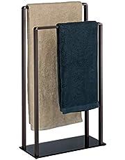 Relaxdays, Bronzen zwart handdoekrek vrijstaand, 2 stangen, modern, metaal, handdoekhouder, h x b x d: 80 x 45 x 20 cm