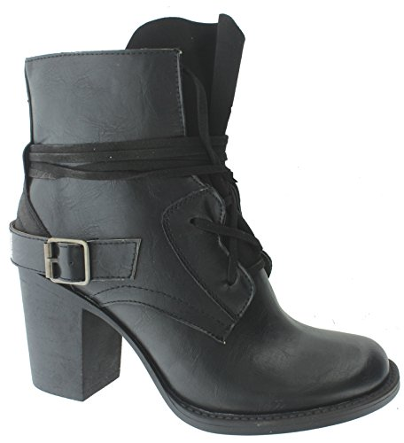up Stacked Distressed Vintage Heel Dumas Ankle Women's Black Boot Ravenna 1 Lace Pierre waZRF0qx8