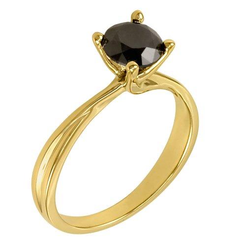 Amazon 10k Yellow Gold Black Diamond Solitaire Ring 1 cttw