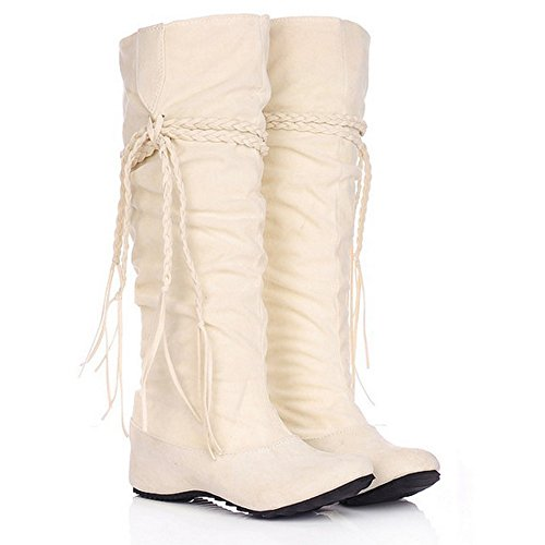 LongFengMa Women's Soft Nubuck Hidden Wedge Heel Mid-Calf Winter Flat Boots with Braid Beige Lgsc7acp0p