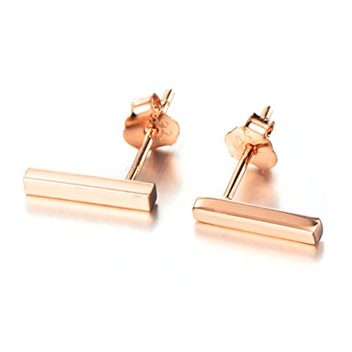Stud Over Gold Silver (Minimalist 925 Sterling Silver Stud Earrings Modern Bar Studs (Rose Gold over Silver))