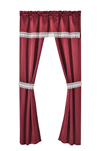 Regal Home Collections 5 PC Amore Infatuation Macramé Blackout Rod Pocket Panel. Window Curtain Set, 54 X 84, Burgundy (Regal Collection Curtain Rod)