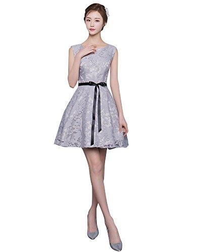 Beauty-Emily Abendkleider Für Hochzeit Damen Kurz Plus Elegant Spitze Grau