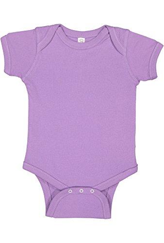 Rabbit Skins Infant 100% Cotton Baby Rib Lap Shoulder Short Sleeve Bodysuit (Lavender, 12 Months)