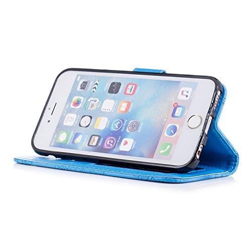 iPhone 6 Hülle, iPhone 6s Echte Rindsleder Brieftasche Hülle , COZY HUT® [Premium Leder Serie] [Wallet Case] Praktishe Ledertasche [Blau] Integrierter Aufstell Funktion und 5 Kartenfach Premium Leder  Blau Blumenporzellan