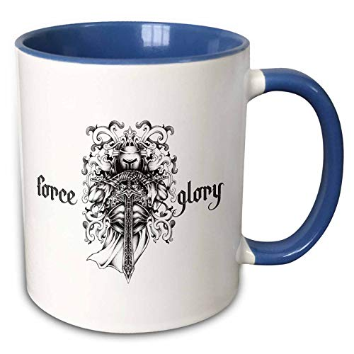 3dRose Alexis Design - Brave and Strong - Decorative image of a medieval knight with a sword. Force, glory text - 11oz Two-Tone Blue Mug (mug_292932_6) ()