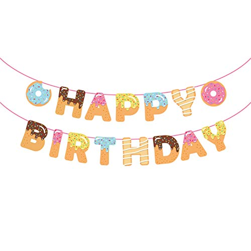 CC HOME Donut Birthday Banner ,Donut Time Birthday Party Decorations Supplies,Donut Happy Birthday Banner,Donut Party Bunting Garland Background String for Donut Themed Party ,Donut Grown Up Party,Tea Party Kids Birthday Baby Shower Decorations]()