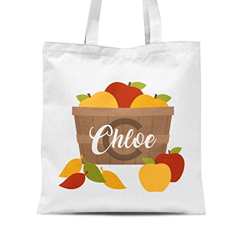 Halloween Tote Bag - Monogram Apple Personalized Name Trick or Treat Tote Bag]()