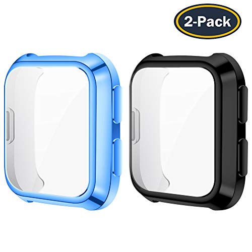 QIBOX Cover Compatible with Fitbit Versa(2-Pack), All-Around Screen Protector Case Bumper Shell Soft TPU Plated Bumper Compatible with Fitbit Versa Smartwatch [Scratch-Resist][Full-Protector]