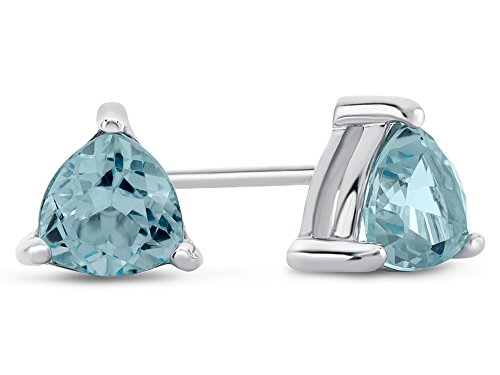 Finejewelers 6x6mm Trillion Sky Blue Topaz Post-With-Friction-Back Stud Earrings Sterling ()